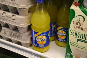 Unfortunately, Orangina is not found in our fridge as I've only been successful finding the drink in Europe and (as pictured) in one of our favorite groceries, Ridgway (Colordo) Mountain Market.