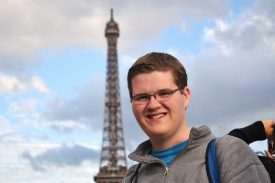 Me in front of the Eiffel Tower back in 2012 - I look so happy because I was!  Photo by Alexandria Mueller or Jay Woofter.
