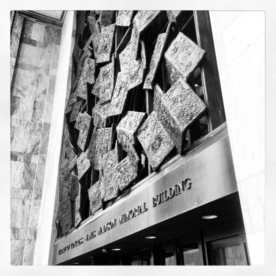"Frank Eliscu's ""Falling Books"" at the entrance to the James Madison Building of the Library of Congress in Washington, D.C."